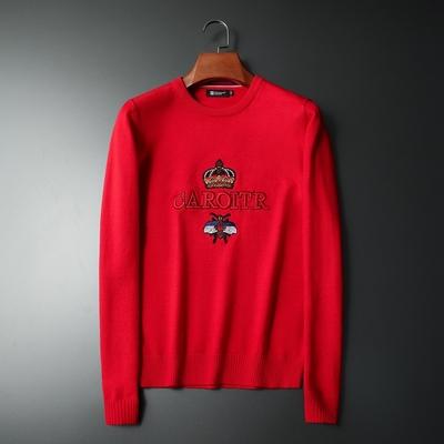 男士长袖毛衣 新款刺绣小蜜蜂皇冠针织毛线衫打底9136 P108 红色