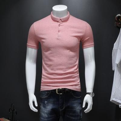 男士短袖POLO衫 彩棉条纹舒适保罗衫2218 P68 修身版 粉色