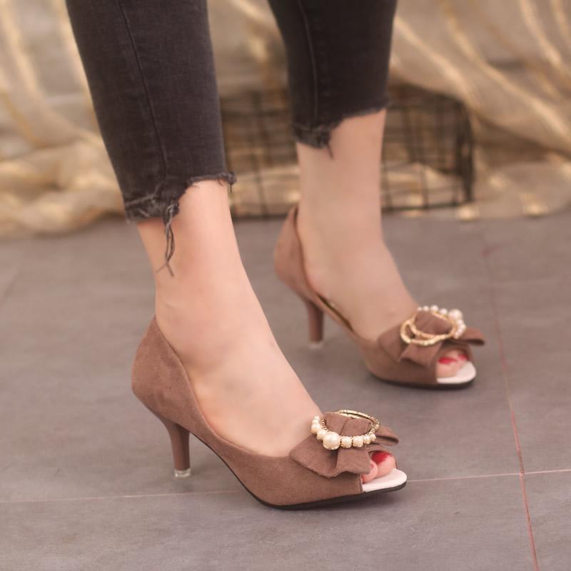 女款单鞋2018新款时尚秋季蝴蝶结韩版女中跟百搭显瘦鱼嘴高跟鞋黑