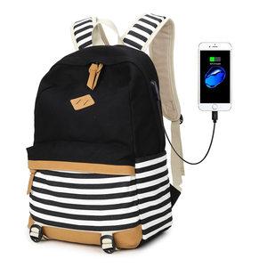 2020新款条纹女帆布双肩包时尚休闲中学生书包海军风休闲女包背包