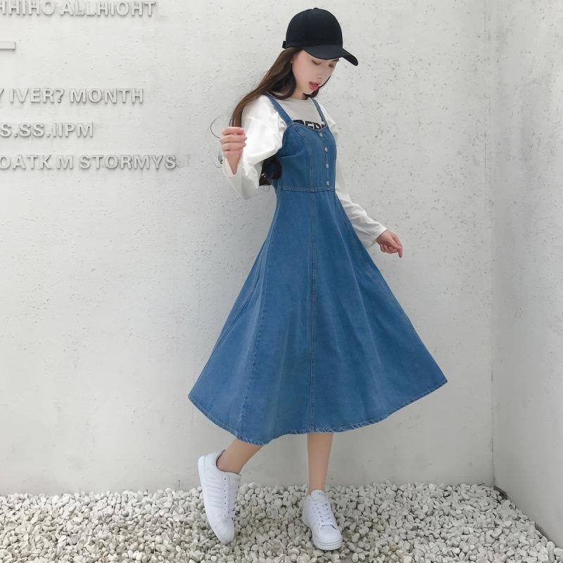 2020新款中长款背带裙 修身显瘦a字大摆排扣吊带牛仔连衣裙女