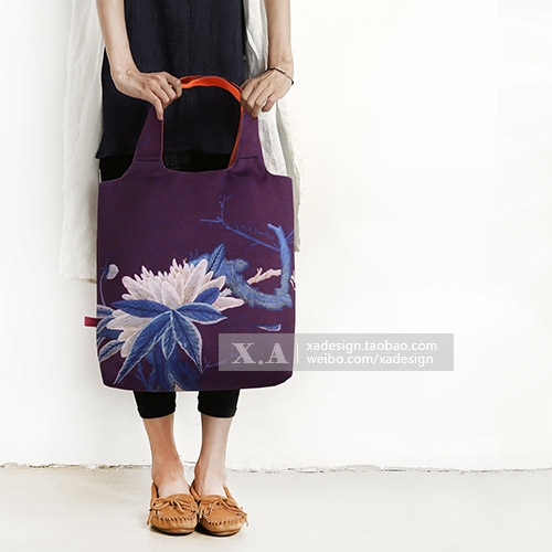 10. A design original design printing bag Large Satchel Handbag art womens bag national style lotus style