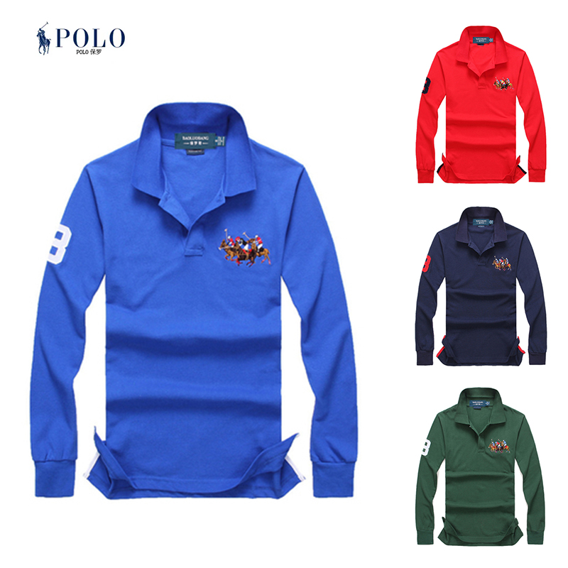 American Ralph Paul polo shirt with polo collar and T-shirt for mens front tricolor long sleeve cotton embroidered Lauren Polo Shirt