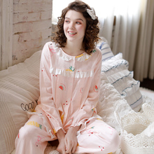 Yourban Spring and Summer Cotton Yarn Moonwear Post-partum Thin Feeding Clothes Large Nursing Sleepwear for Pregnant Women