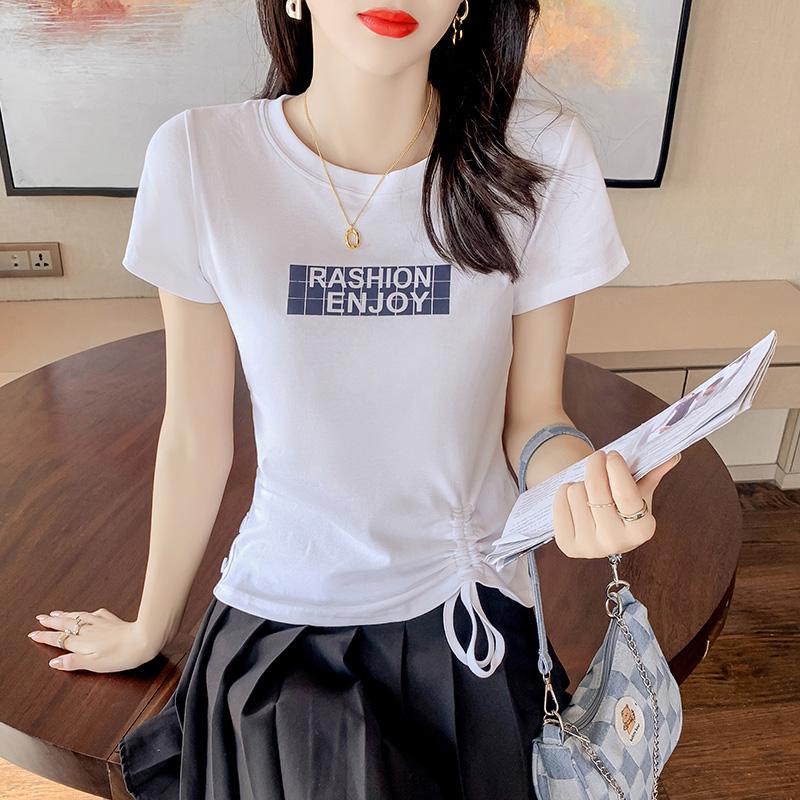 2068#2021新款夏装侧边抽绳短袖t恤女设计感修身短款香芋紫色上衣
