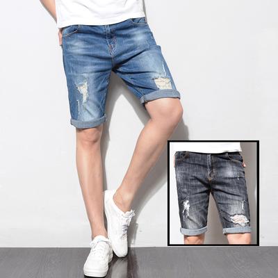 D6022-p50新款男弹力黑蓝色破洞修身男牛仔裤中裤五分裤男休闲裤