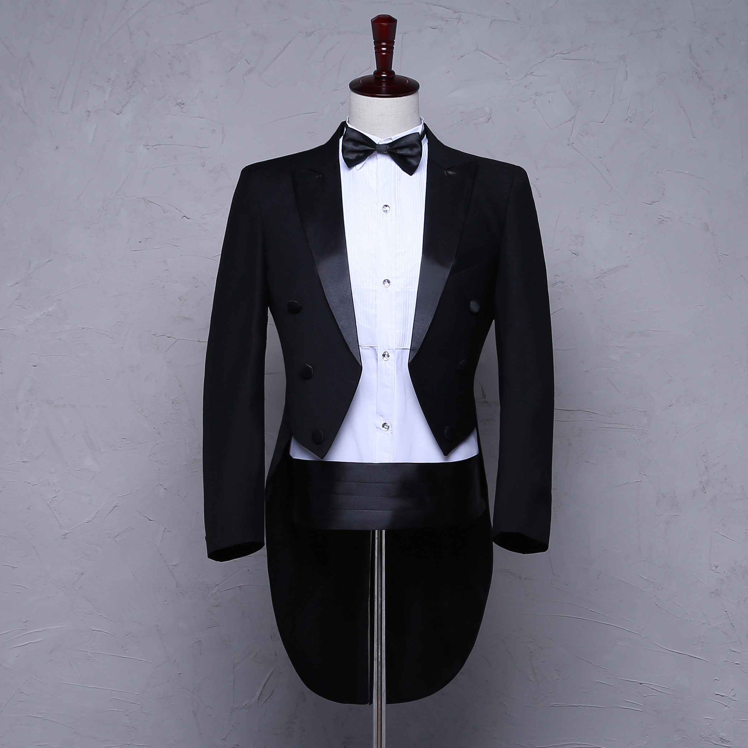New mens black and white tuxedo suit stage performance chorus wedding studio photo annual meeting MC
