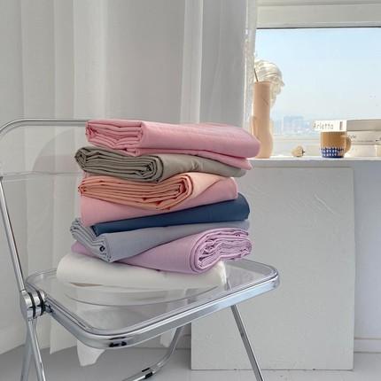 多色搭!韩风纯色舒服水洗棉床单单件全棉床笠单双人床罩被单定制