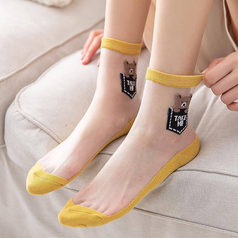 女长袜子水晶丝玻璃丝中筒袜夏季薄款夏天短袜日系韩国可爱透明袜