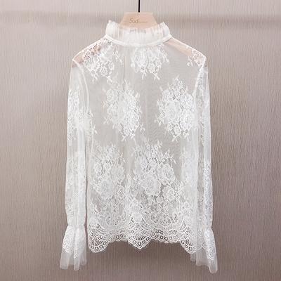 Sud韩版超仙雪纺白色小立领洋气长袖百搭蕾丝打底衫网纱小上衣女