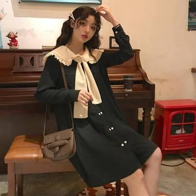 春夏韓版小清新學院長袖連衣裙女很仙的寬松高腰顯瘦襯衫裙長裙子