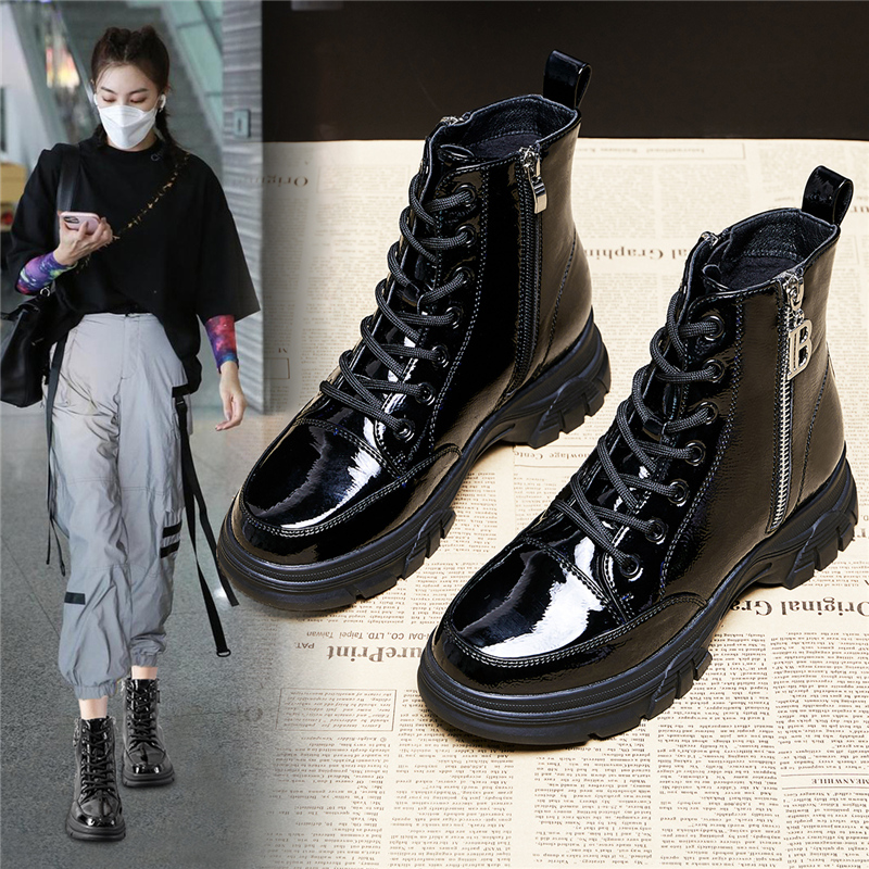 Thick base patent leather Martin boots womens fashion autumn winter short tube 2020 New England wind side zipper versatile boots