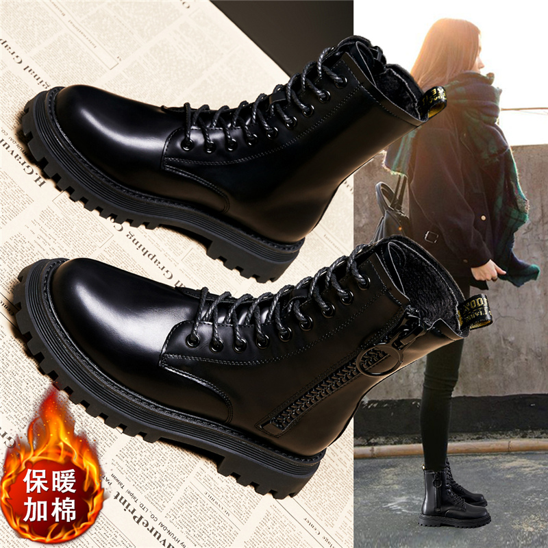 Martin boots womens England 2020 new fall and winter versatile show foot small side zipper thick soled comfortable short boots