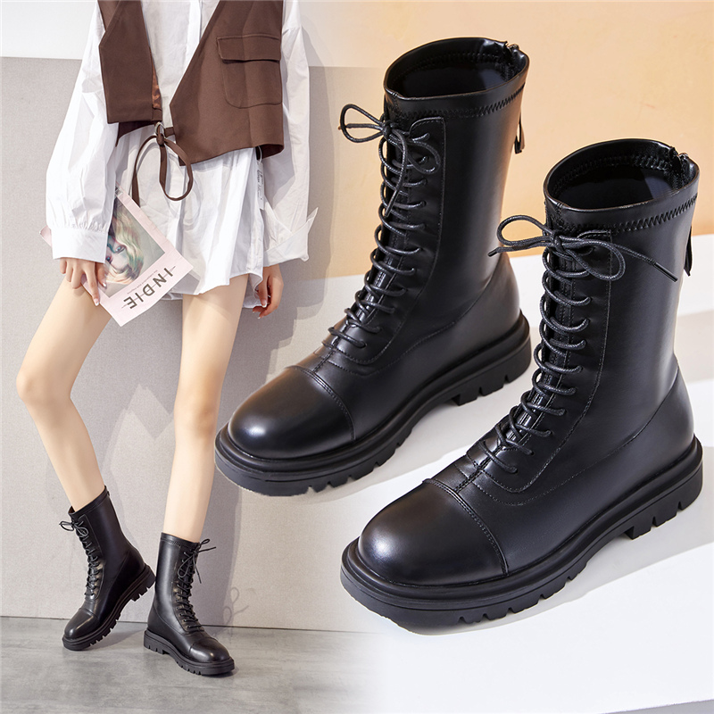 Martin boots womens short tube autumn winter 2020 British style 11 hole bandage British style zipper thick soled womens boots short boots