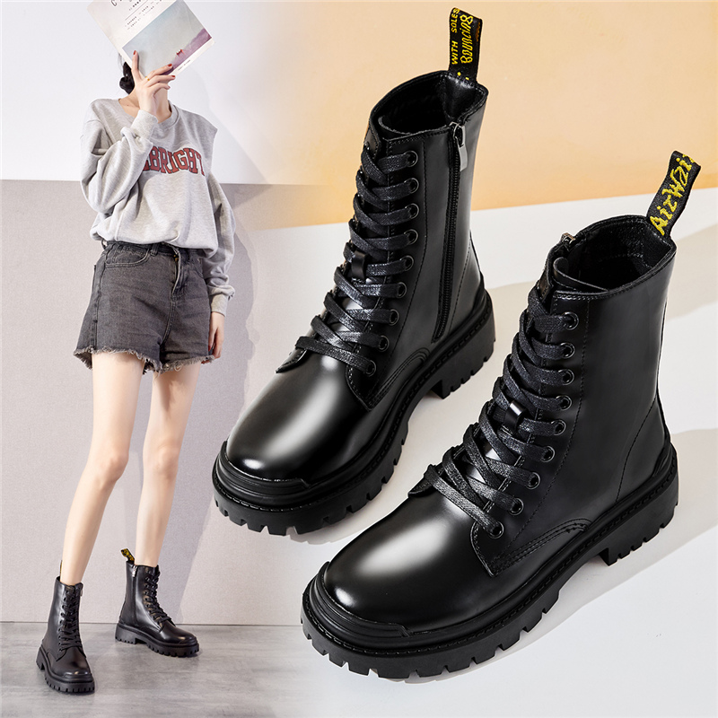 Leisure Martin boots womens 2020 new autumn and winter womens shoes middle tube thick sole round head lace up British short boots
