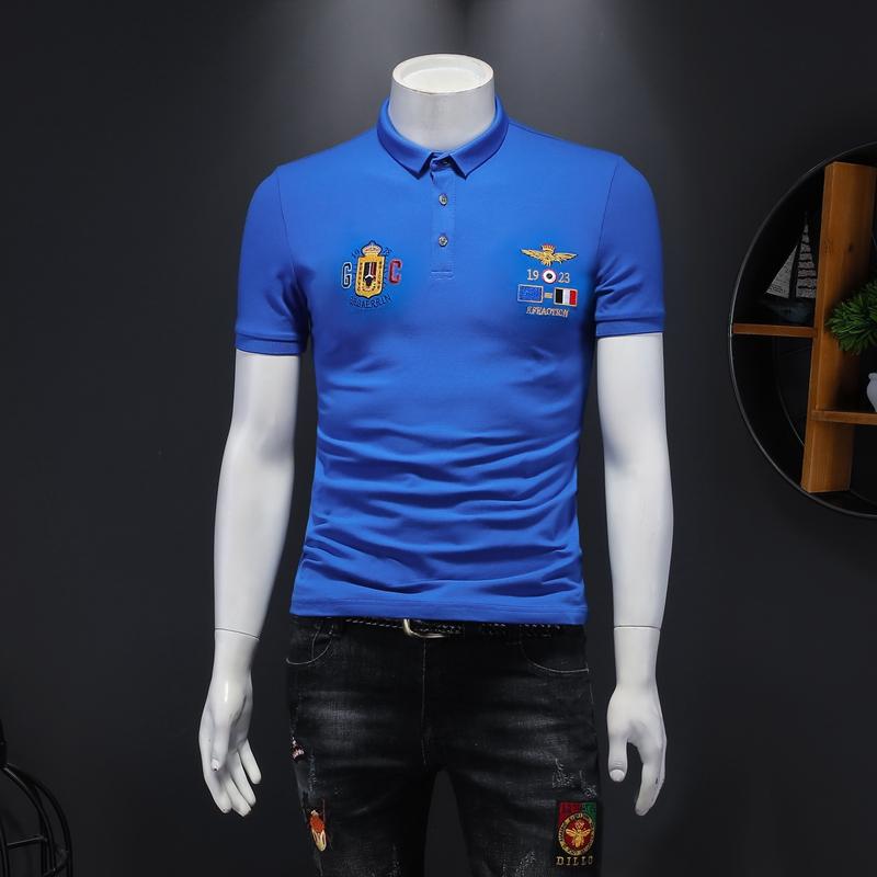 2021年新款刺绣短袖POLO衫 钱塘3019 T1102 P65 假模  蓝色