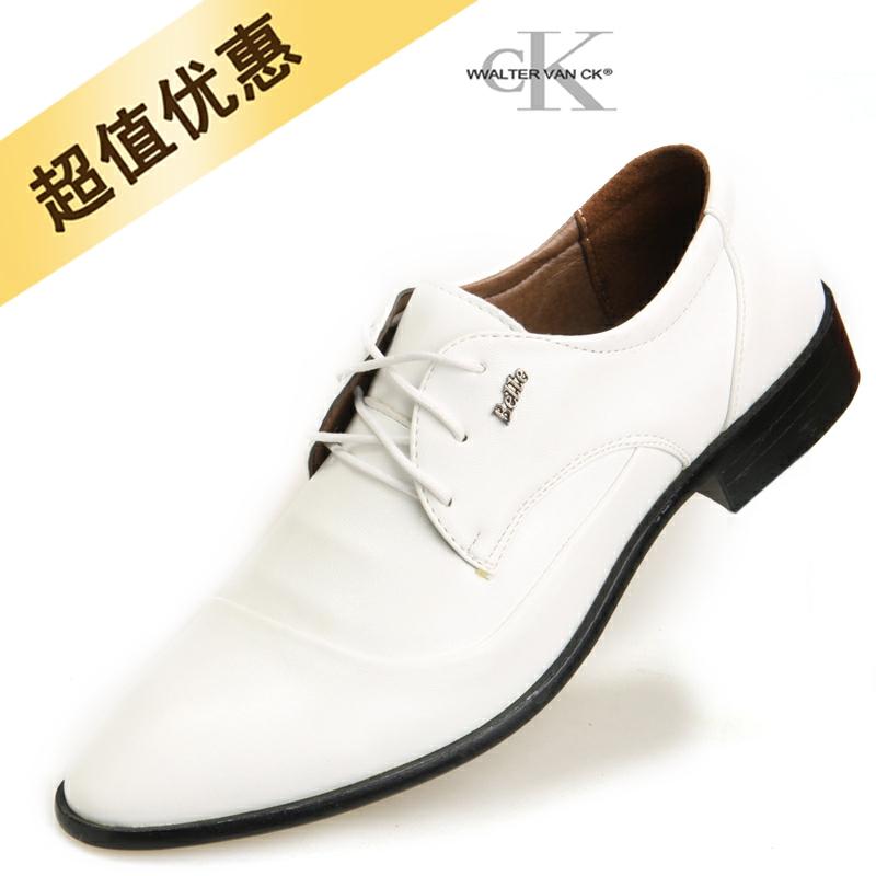 流行男鞋休闲鞋韩版尖头皮鞋英伦白色皮鞋时尚潮鞋男士结婚鞋