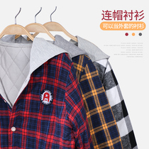 Boys plaid shirt childrens padded shirt in the Big Child long-sleeved jacket mens autumn and winter hooded padded padded padded warm