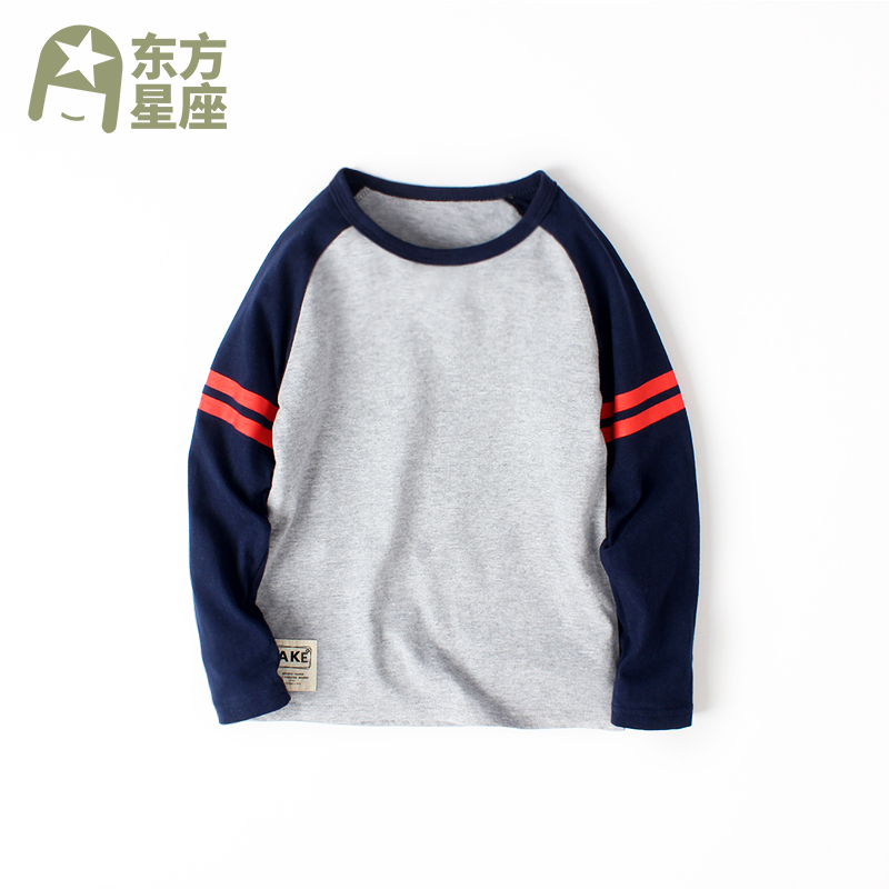 Boy's T-shirt, long sleeve, pure cotton, middle and big children's top, foreign style, children's bottoming shirt, thin boy's clothing, spring and autumn fashion, Korea
