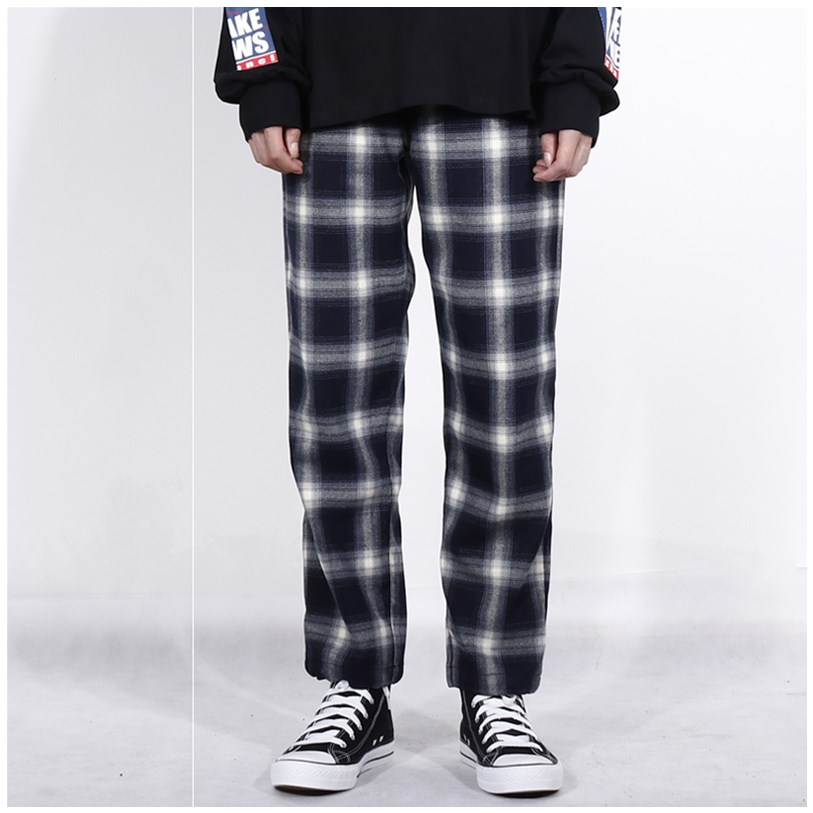 Ulzzang fashion black and white plaid trousers for men and women loose casual corset pants for lovers