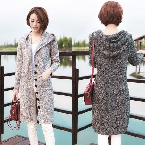 Spring and autumn 2020 new button hooded sweater womens cardigan