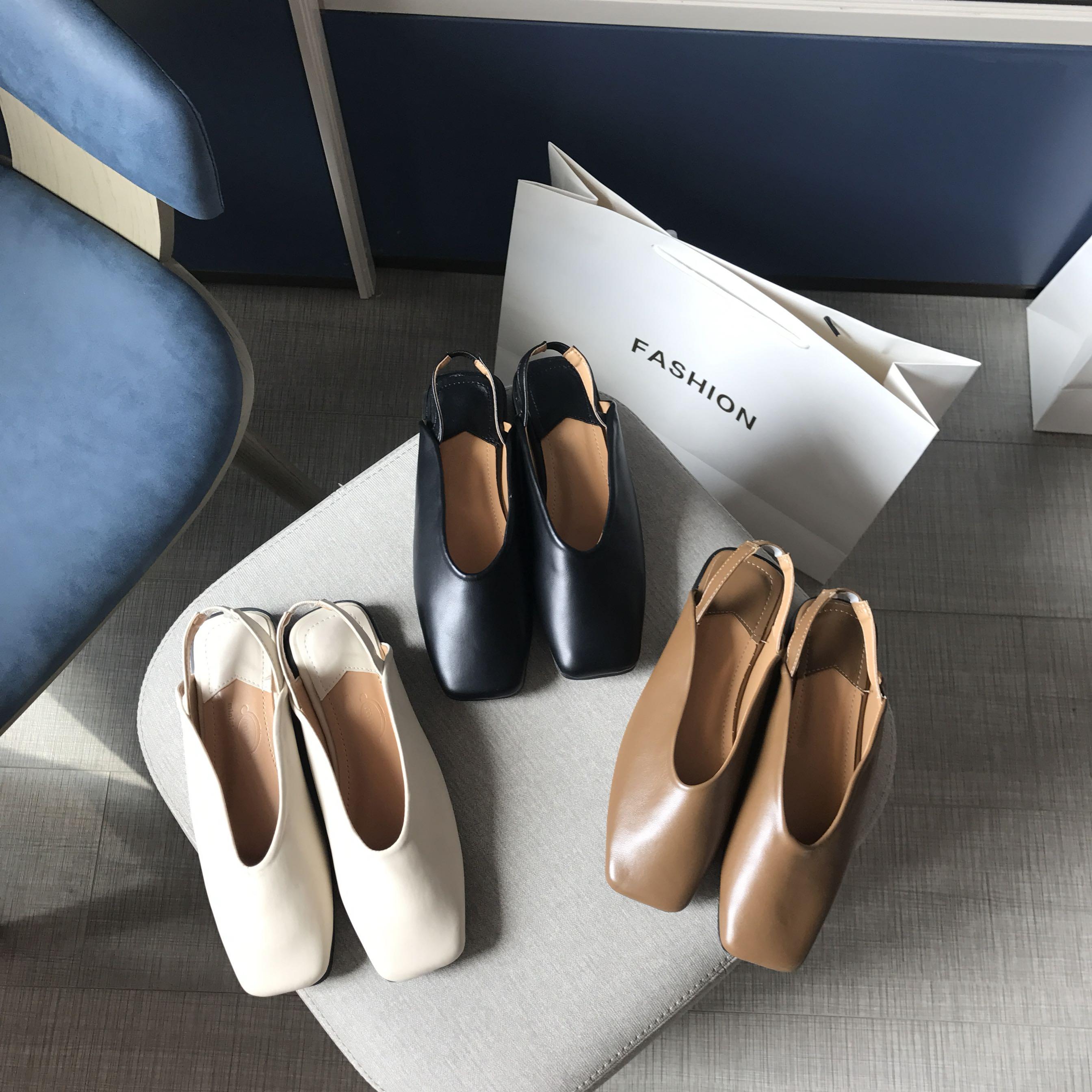 韩国东大门2020春包头方头平底鞋学生软皮一字带复古凉鞋女鞋