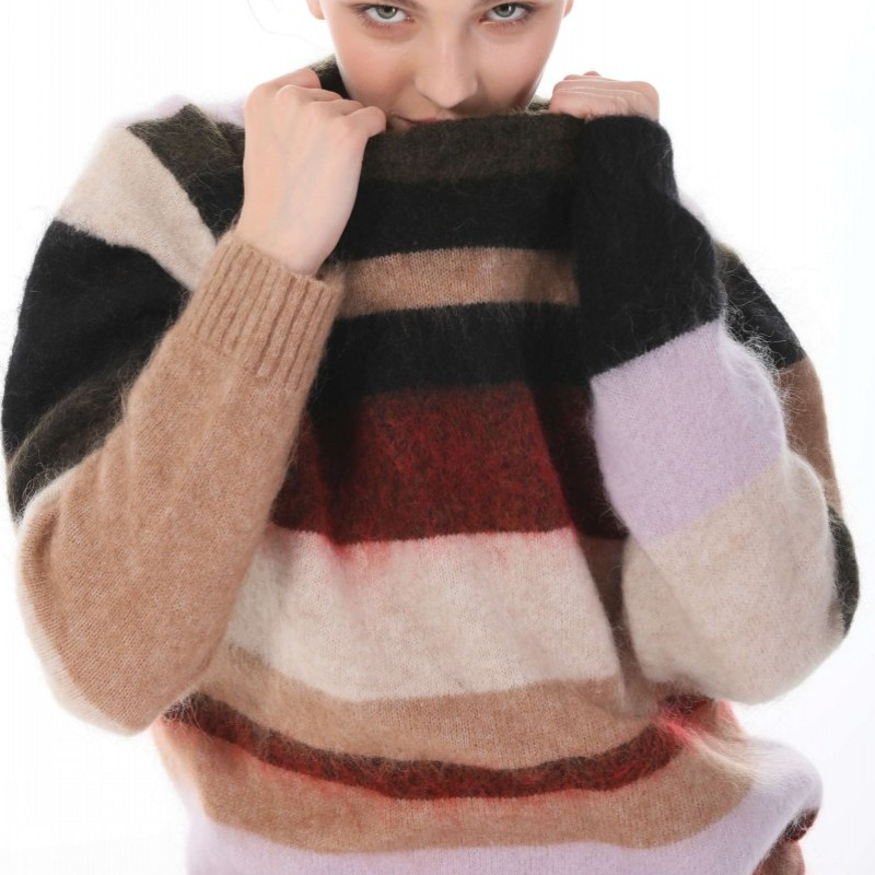 2020ac autumn / winter womens thickened sweater Mohair multi color stripe T-shirt loose long sleeve wool blended bottom