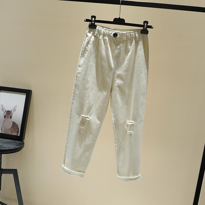 米白色一粒扣松緊高腰薄款彈力棉牛仔褲女春夏新款韓版破洞休閑褲