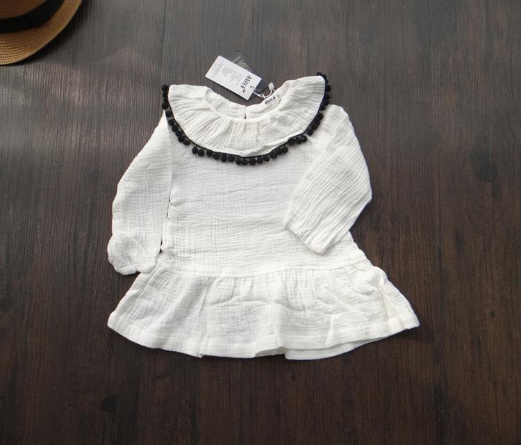 韩版童装春季儿童毛球花边翻领连衣裙 女童白色棉纱长袖连身裙
