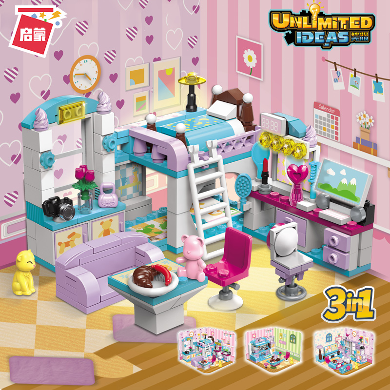 Enlightening girls home block assembly Toy Puzzle 6-7-8-10-year-old girls bedroom 5 scene model child 9