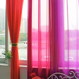 窗户飘窗田园雪纺红色白色黄色紫色窗纱帘成品客厅卧室隔断窗帘纱