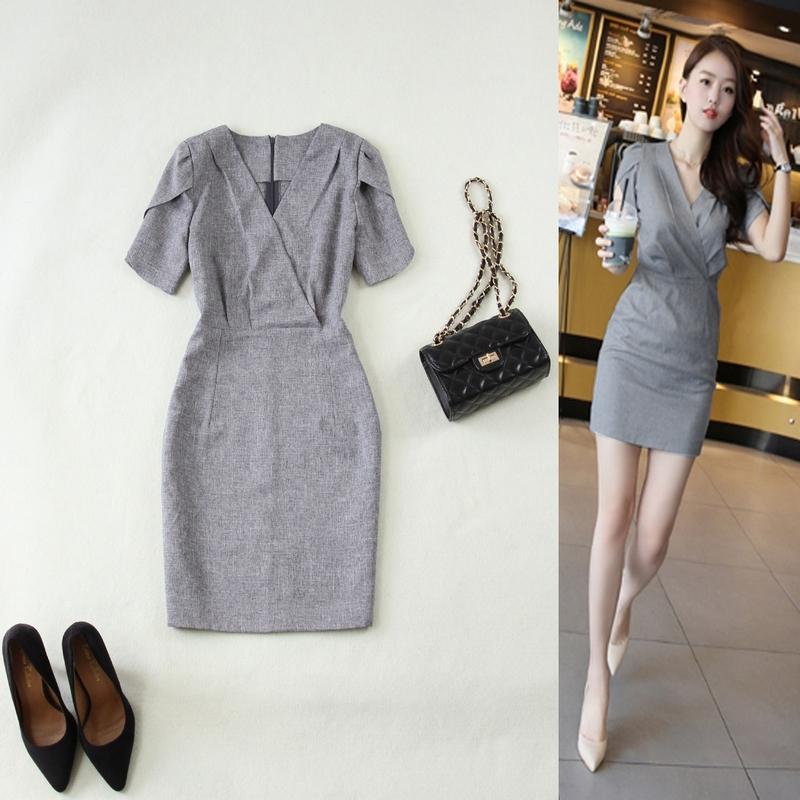 包邮女装新款春夏季纯色大码透气修身V领灰色包臀薄款连衣裙