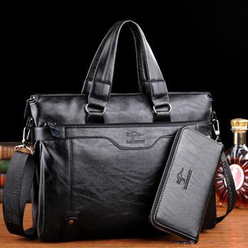 凌智袋鼠男士手提包休闲软皮公文包