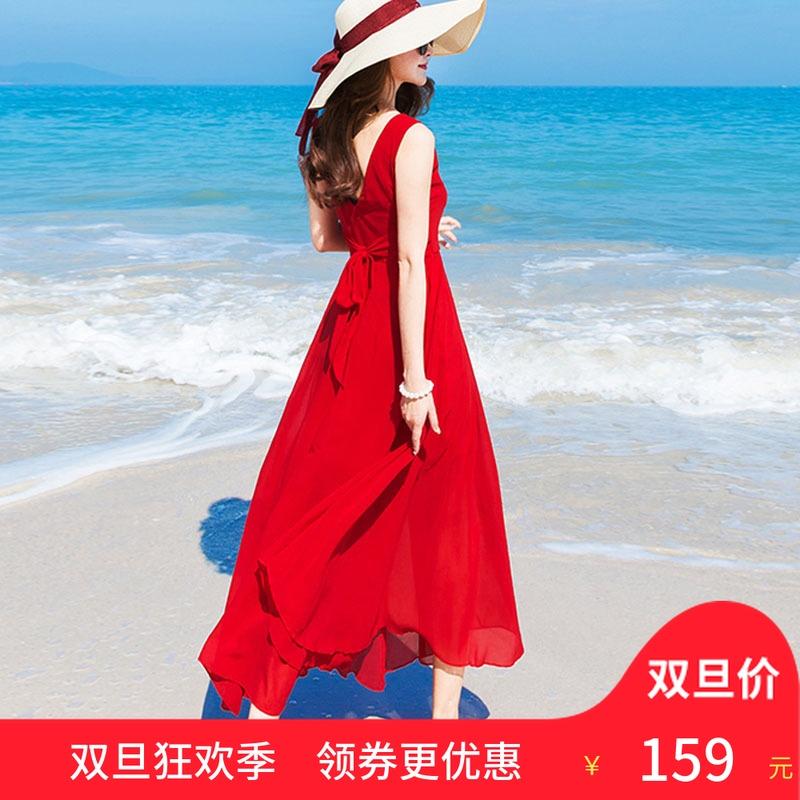 巴厘岛沙滩裙女夏2018新款海边度假雪纺红色连衣裙仙波西米亚长裙