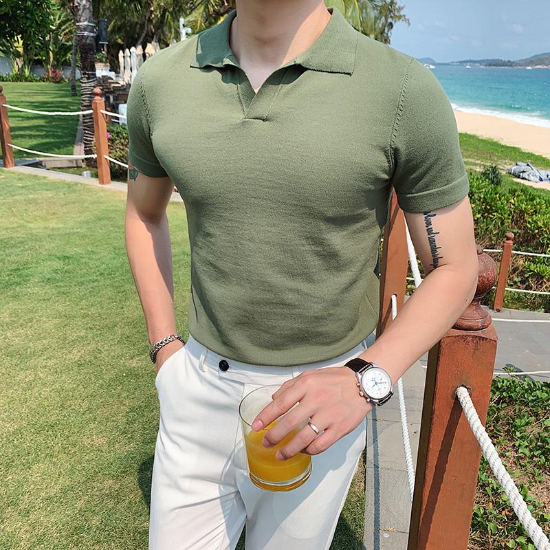 夏季型男短袖针织纯色POLO衫 英伦潮流修身翻领军绿色T恤 M38-P53