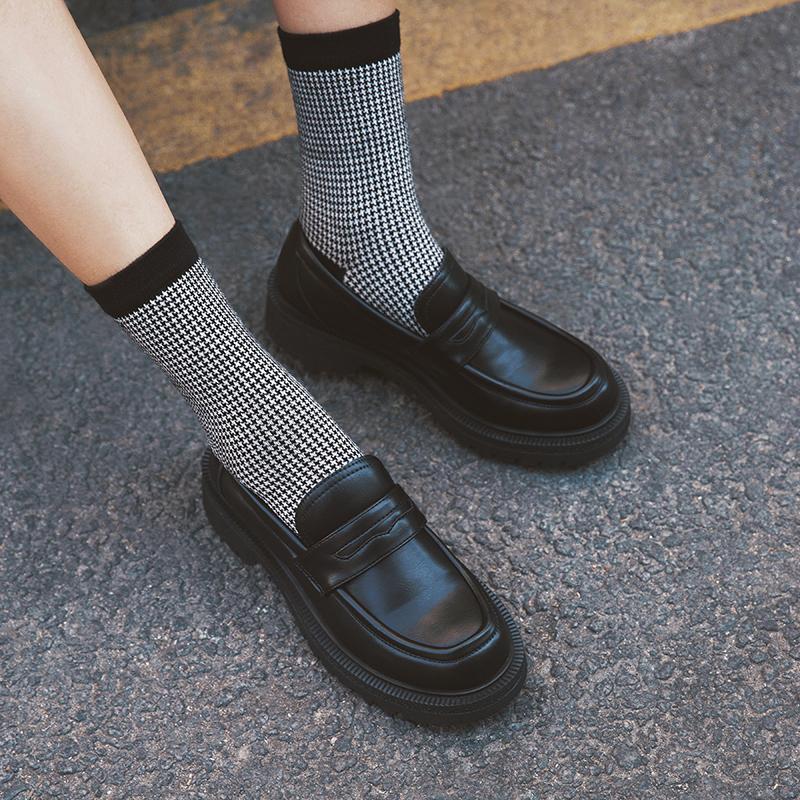 玛速主义 2020新款厚底英伦风单鞋女秋复古小皮鞋黑色平底乐福鞋