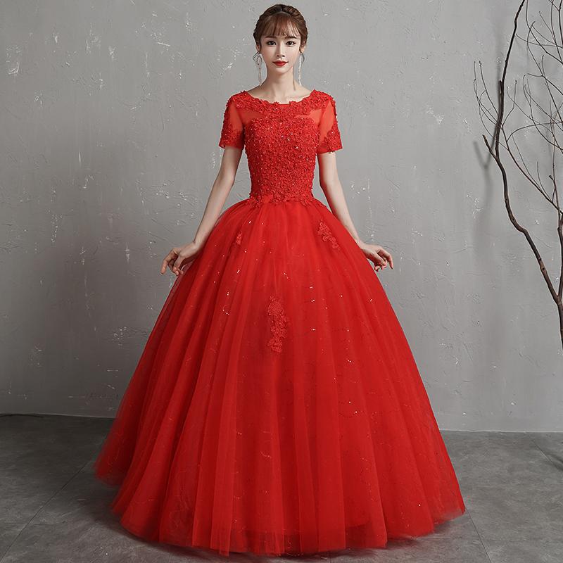 红色婚纱礼服2019新款韩式新娘一字肩简约复古齐地高腰孕妇小个子