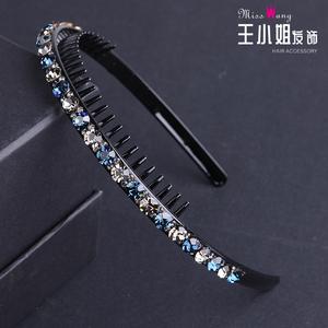 韩国简约带齿梳水钻发箍发卡 发夹饰品头饰刘海防滑镶钻头箍压发