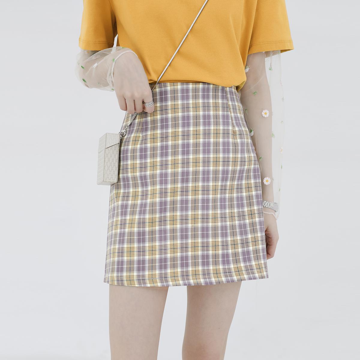 金大班向珊2020夏新款甜美黄紫色高腰格子包臀a字半身短裙子少女