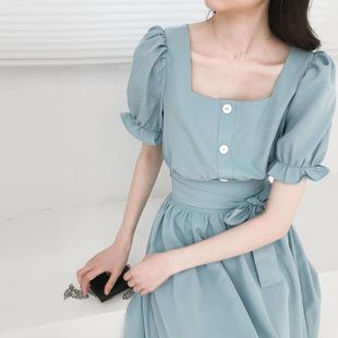 金大班怡然2020夏季新款洋气方领上衣+显瘦半身裙子两件套装少女