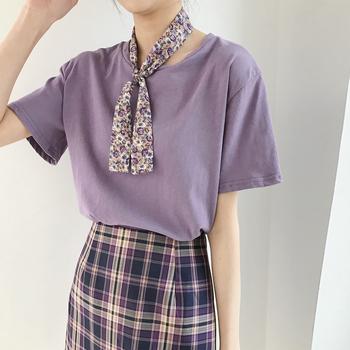 金大班瑶依2020夏新款闺蜜装紫色短袖T恤上衣少女学生/赠碎花领巾