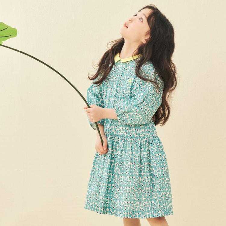 韩国正品直邮BEANPOLE宾波儿童女孩经典可爱格桃心碎花短袖连衣裙