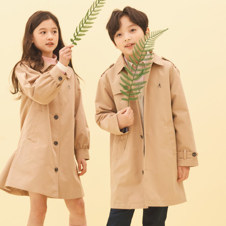 韩国EMS包邮-Beanpole宾波儿童经典风休闲工装风衣女款连衣裙外套