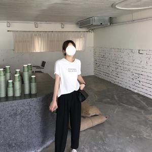 佳哥的店 2019早秋新品韩版chic宽松百搭字母学生短袖套头T恤女秋