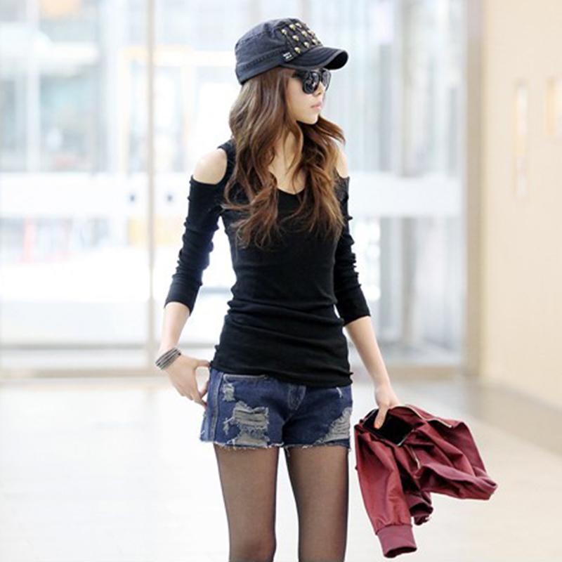 2020春季韩版女款春装露肩t恤黑色纯棉潮流上衣修身V领长袖打底衫