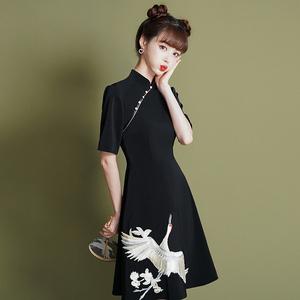 旗袍改良版国风少女年轻款小个子中国风复古法式晚礼服女装连衣裙