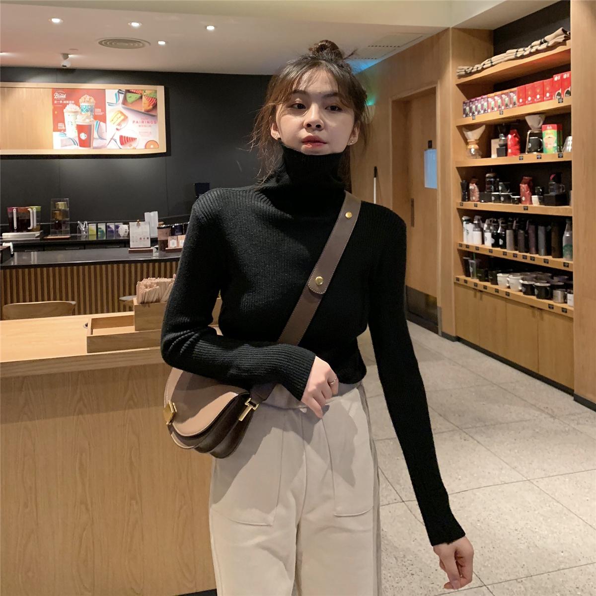 实拍实价 韩版经典款百搭打底针织衫秋冬高领兔绒包芯纱打底上衣