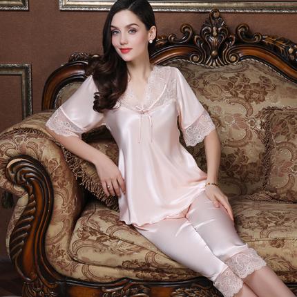 上海故事夏季薄款短袖套裝女媽媽夏天冰絲睡衣兩件套可外穿