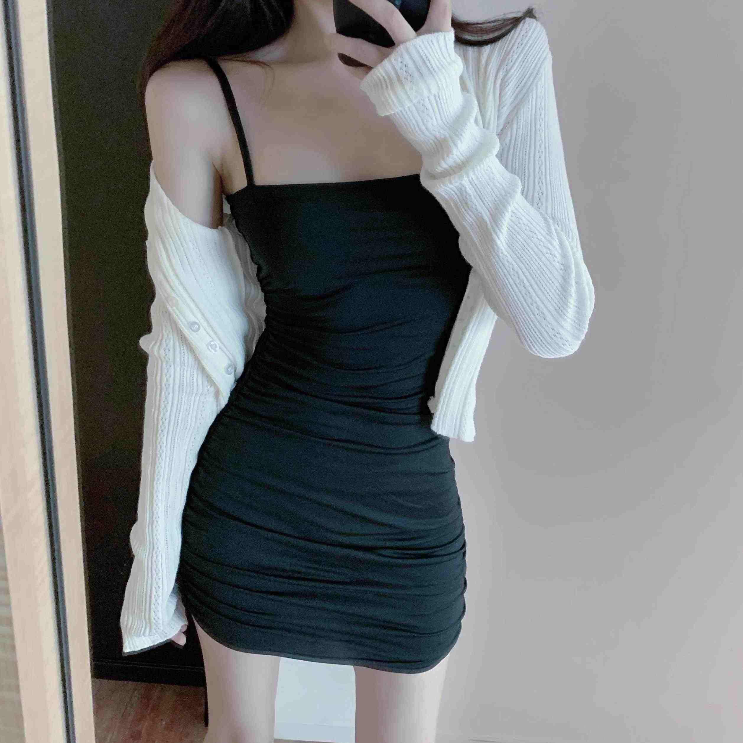 套头吊带包臀裙子女夏季轻熟打底褶皱性感连衣裙小黑裙潮气质