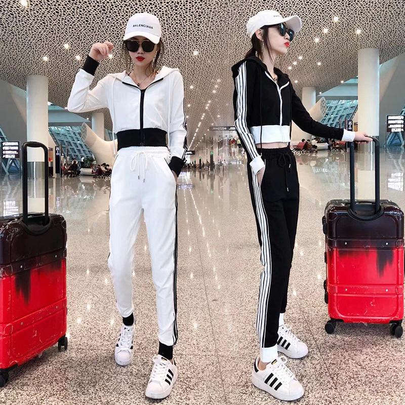 运动套装女春秋新款韩版时尚洋气网红露脐短外套时尚休闲两件套潮